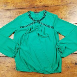 Cute Ro & De Anthropologie Emerald Beaded Blouse